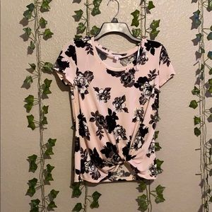 Pink and black floral blouse